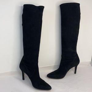 Stuart Weitzman Sz 7 Black Suede Sock Heel Boots